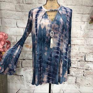 Umgee Tie Dye Crepe Crepe Swing Tunic/Mini Dress